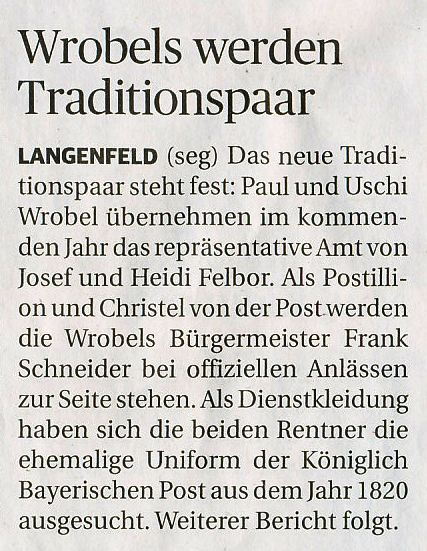 20181214 Rheinische Post - Neues Traditionspaar